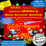 GeoTreasureland GAME  Test Review for MINERALS ROCKS & ELEMENTS Compounds METALS