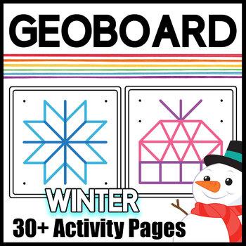 Geoboard Activity Bundle: Mats, Worksheets, & Task Cards for Holidays & Seasons