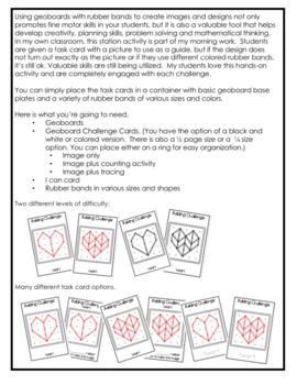 Geoboard Challenge Task Cards - Valentine's Day