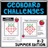 Geoboard Geometry Challenges - Seasonal Task Cards - Fine Motor Skills - Summer