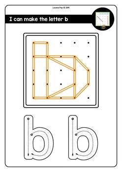 Geoboard Fine Motor Alphabet Activity: Lower Case Letters