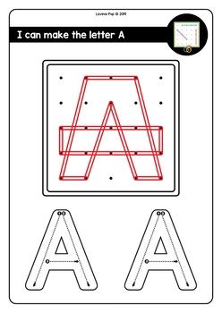 Geoboard Fine Motor Alphabet Activity: Upper Case Letters