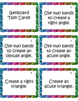 picture relating to Free Printable Task Cards titled Geoboard Job Playing cards