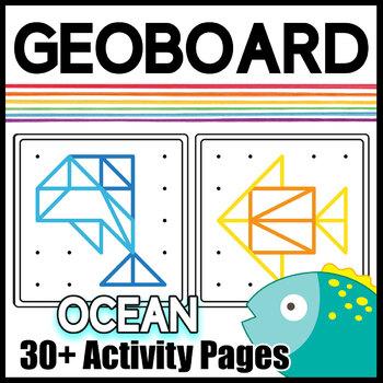 Geoboard Task Cards & Activity Mats: Ocean