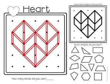 Geoboard Task Cards & Activity Mats: Valentine's Day
