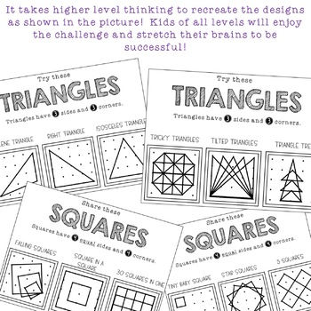 Geoboard Task Cards and Recording Sheets . Shapes . Math Centers . FUN!