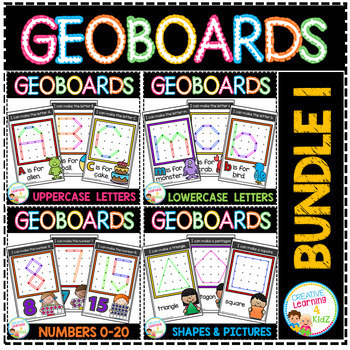 Geoboard Templates: Bundle 1 Alphabet - Numbers - Shapes - Simple Pictures