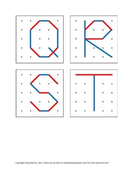 Geoboard Upper Case Letter Diagrams for Pre-k, Kindergarten or 1st