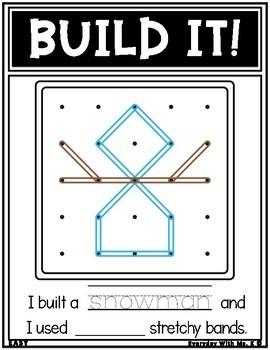 Geoboard Winter Christmas Holiday Task Card Work It Build It Make It STEM Mats