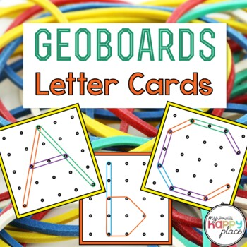Geoboards Alphabet Task Cards - Upper and Lowercase Letters