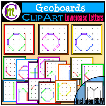 Geoboards Clipart Lowercase Letters By Crunchymom Tpt