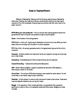 Geocaching Adventure Worksheet