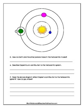 Solar System: Geocentric and Heliocentric Model Diagrams to Label