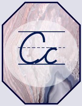 Geode Warm Pink Cursive Alphabet Posters