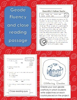Geodes Fluency Passage and Adjectives Craftivity