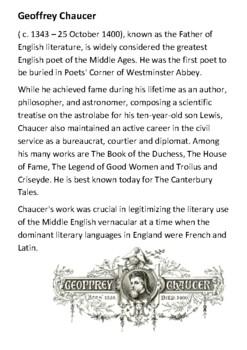 Geoffrey Chaucer Handout