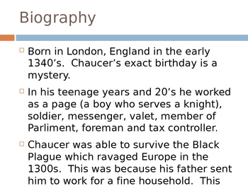 Geoffrey Chaucer Introduction PowerPoint