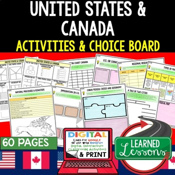 United States & Canada Choice Board Activity Pages with Google