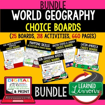 United States & Canada Activities, Choice Board, Print & Digital, Google