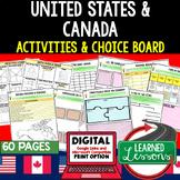 United States Activities Canada Activities, Choice Board, Print & Digital Google