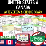 United States & Canada Activities, Choice Board, Print & D