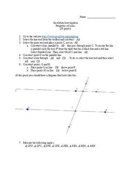 Geogebra Investigation Geometry Angle Type (Alternate Ext, Alternate Int, etc.)