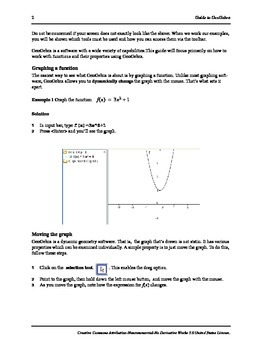 Geogebra guide for Algebra 1 and 2