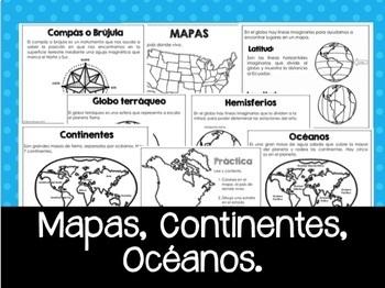 Geografía: mapas, continentes y océanos.