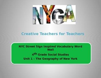 Geografía de Nueva York Vocabulario (New York Geography Vocabulary - Spanish)
