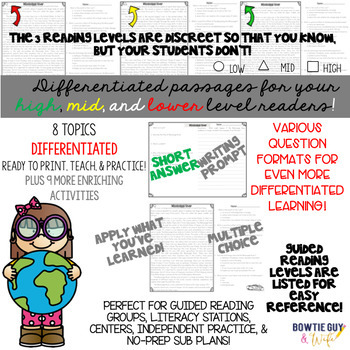 Geographic Features BUNDLE{Differentiated Close Reading Passages & Questions}