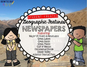 Geographic (Physical) Features Newspapers Bundle for Geography & Social Studies