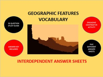 Geographic Features Vocabulary: Interdependent Answer Sheets Activity