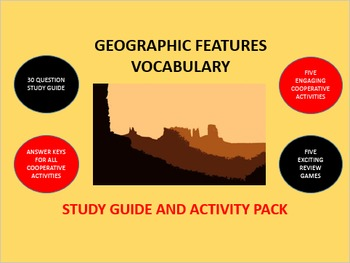 Geographic Features Vocabulary: Study Guide and Activity Pack