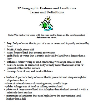 Geographic Features and Landforms Terms and Definitions
