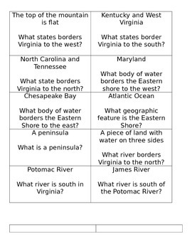 Geographic Regions Of Virginia- I Have, Who Has?