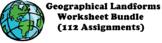 Geographical Landforms Worksheet Bundle (112 Terms)
