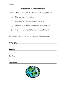 Geographical Terms Geography Social Studies Assessment Quiz Special Education