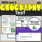Geographical Understanding Test SS5G1 and SS5G2 5th grade Geography Test