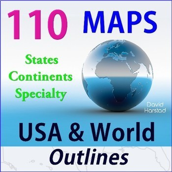 Geography | 110 Maps | USA & World Outlines (Grades K-12)