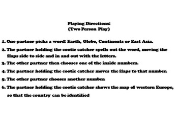 East Asia Activity (World Geography Unit: Map Skills Game)