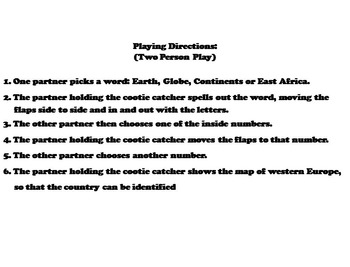 East Africa Activity (World Geography Unit: Map Skills Game)