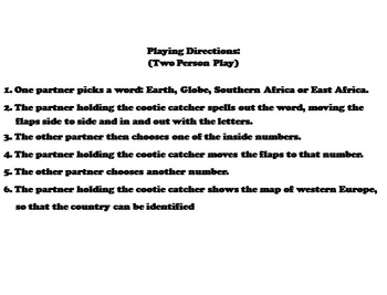 Central and South Africa Activity (World Geography Unit: Map Skills Game)