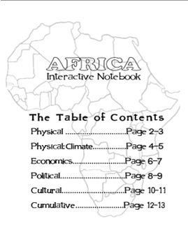 Geography: Africa Interactive Notebook.