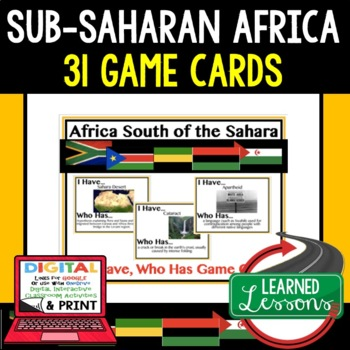 Geography Africa South of Sahara Game Cards