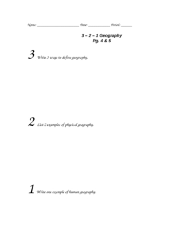 Geography Alive 3-2-1 Activity for Chapter 1
