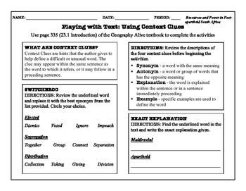 Context Clues Practice - Geography Alive: Chapter 23 (Sout