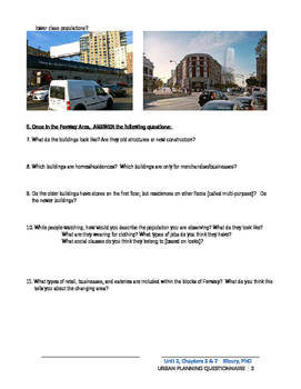 Geography Alive: Chapters 5 & 6: Urban Sprawl and Urban Planning Work Packet