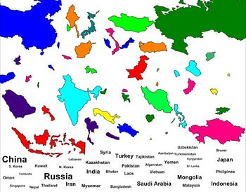 Geography- Asia Labeling Puzzle Map