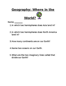 Geography Assessment