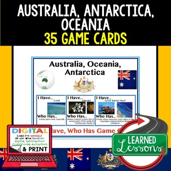 Geography Australia 35 I Have Who Has Game Cards